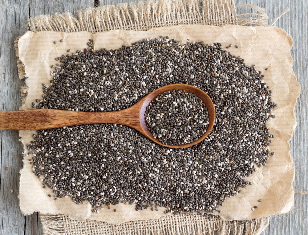 Chia seeds with a spoon