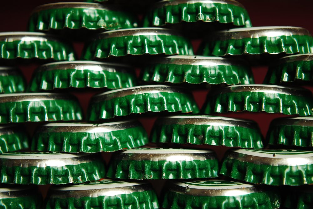 pile of green beer caps