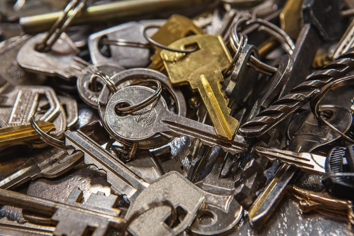 A Pile of old Keys different shapes, sizes and colors