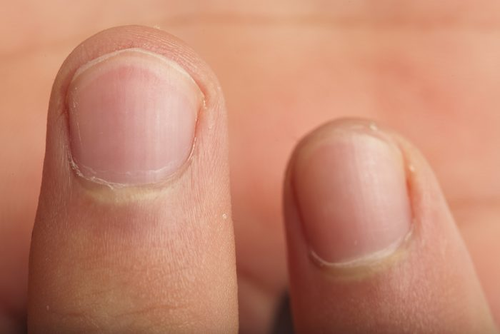 extreme closeup of a male finger detail