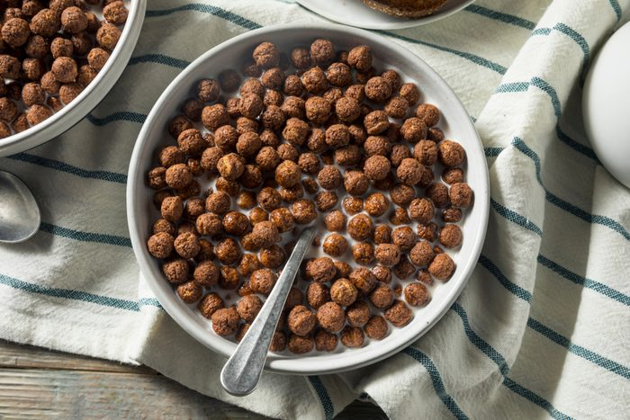 Sweet Cocoa Chocolate Sugar Cereal Puffs with Milk