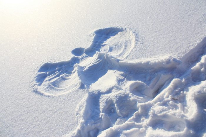Big picture of the snow angel on January clean snow