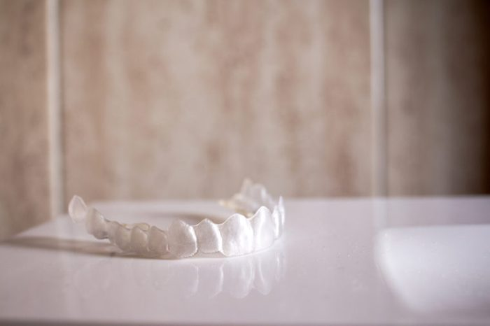 Invisible orthodontics (Invisalign) lying on a table