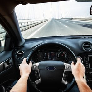 Driving car pov on a highway - Point of View, first person perspective