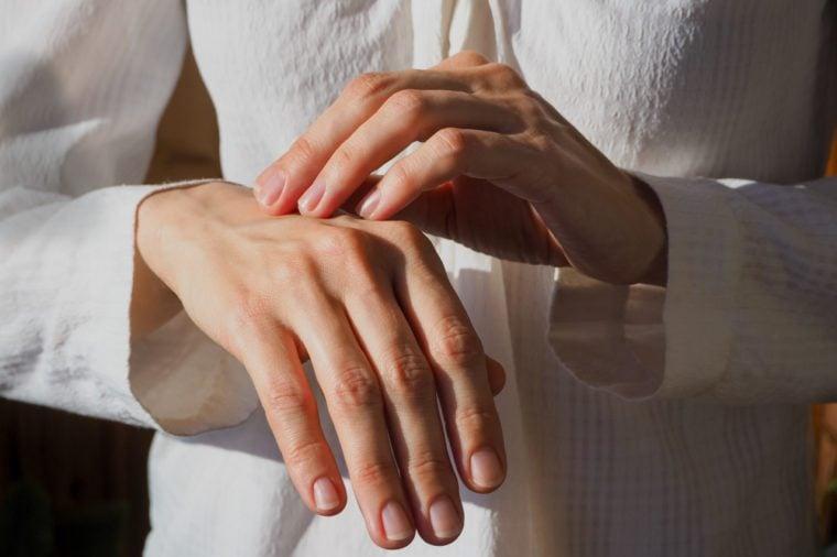Skin care hands.