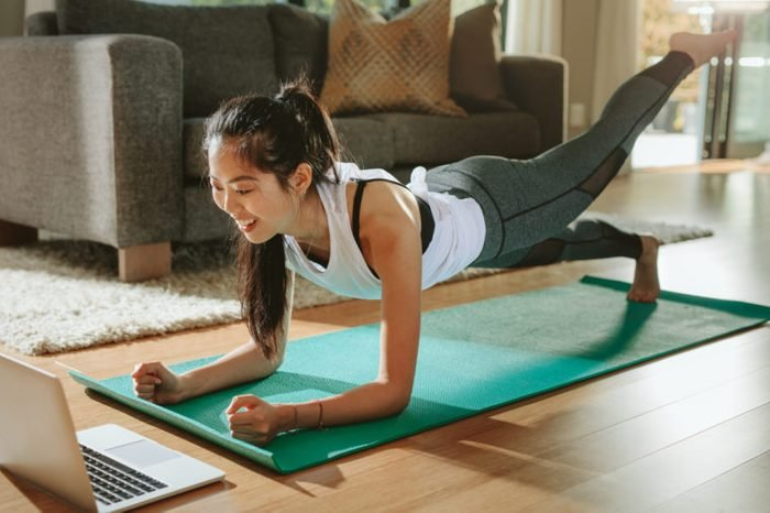 woman working out exercising at home