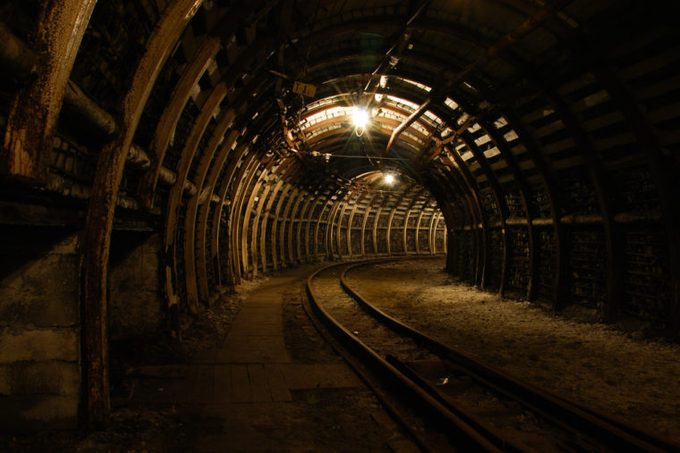 Modern coal mine Passageway in modern coal mine with tracks