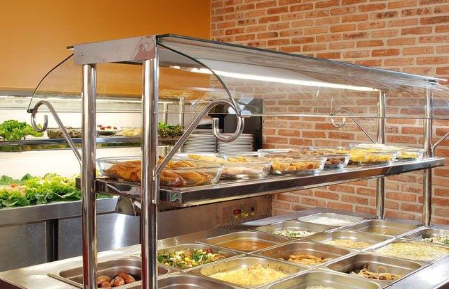 Self-service restaurant buffet.