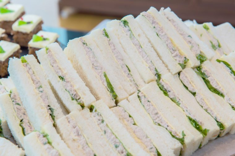Tuna sandwiches with white bread.