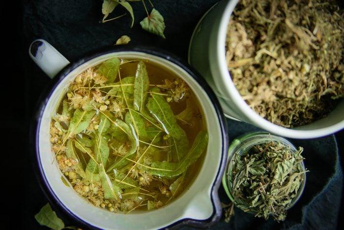 herbs and herbal tea in pot