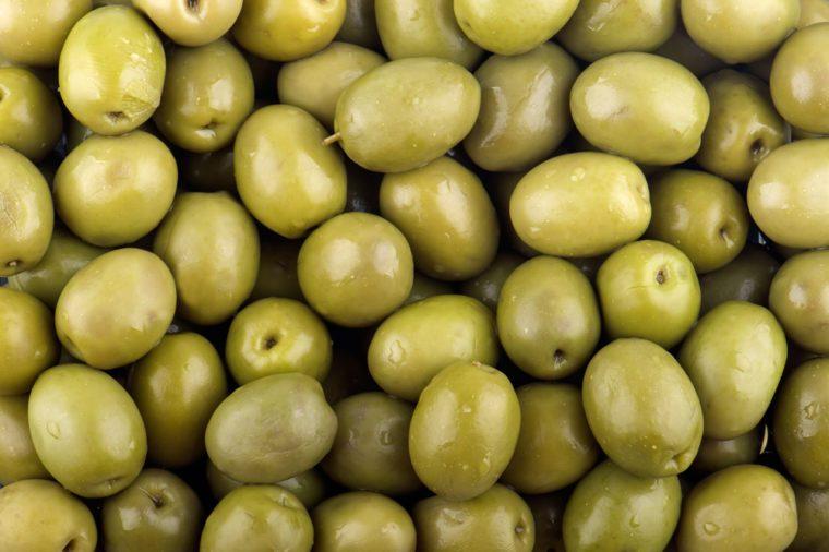 Green olives background