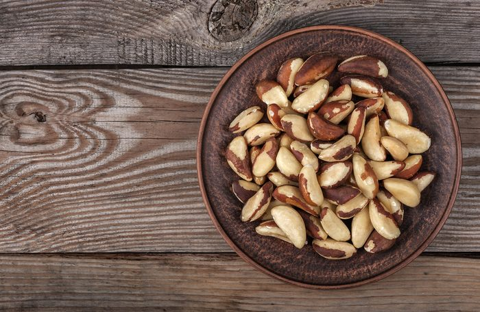 Brazil nuts in a plate