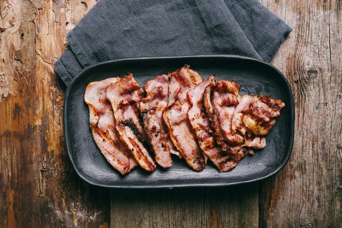Delicious bacon on the tray