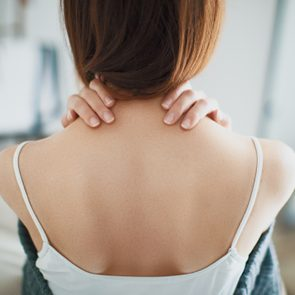 rear view of woman's back and neck