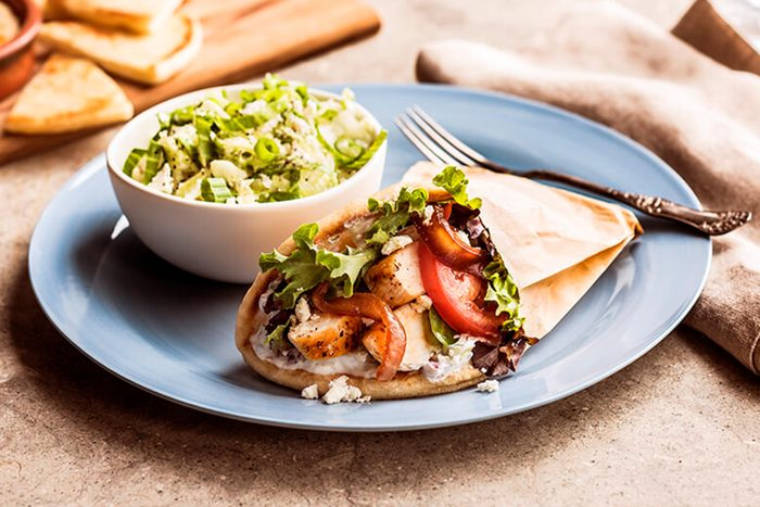 Zoe's Kitchen greek chicken gyro