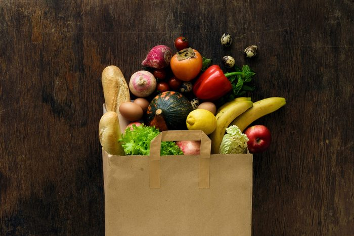 grocery bag full of produce