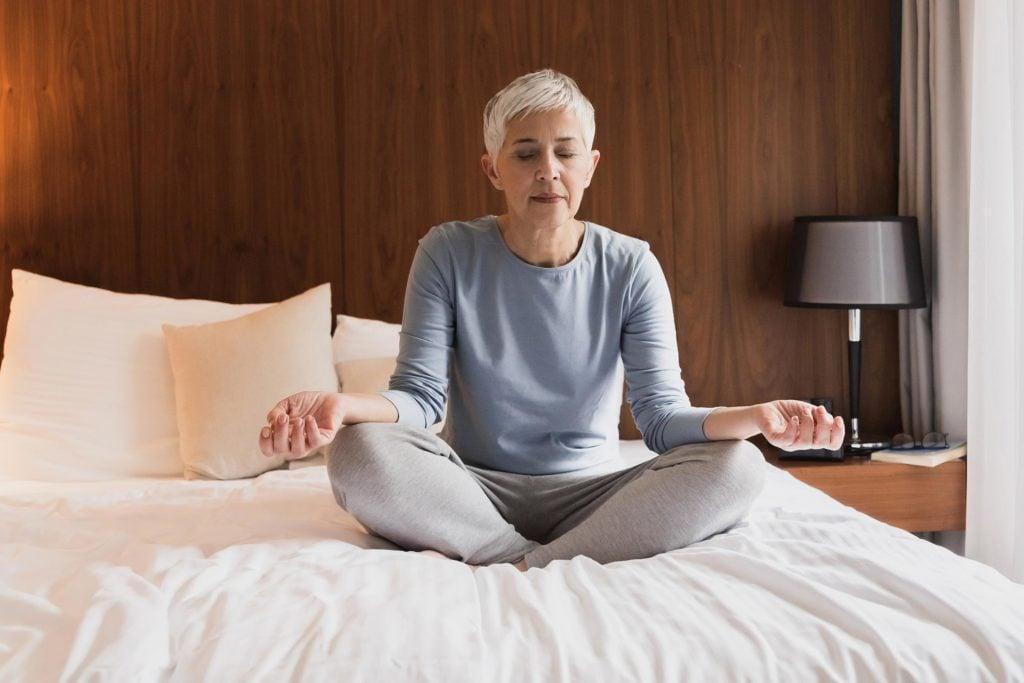 senior woman meditate