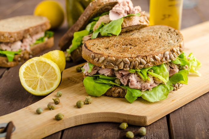 Tuna sandwich, capers, seed bread, lemon juice for freshness, little bit of dijon mustard and olive oil