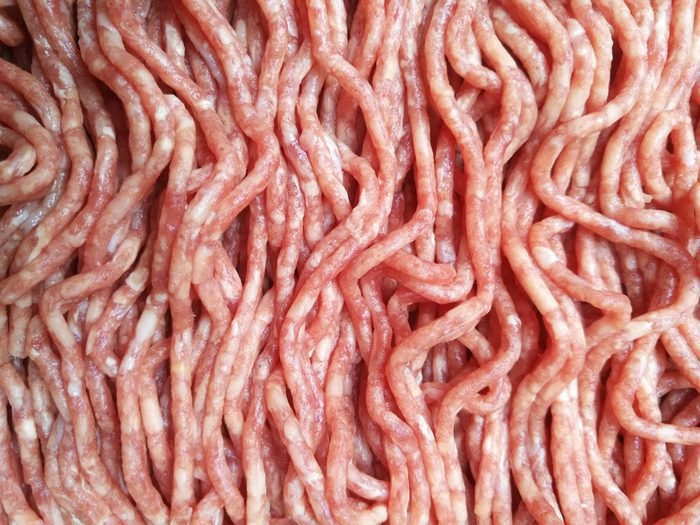 Close-up photo of raw minced meat / mince /ground meat. Textured food background.