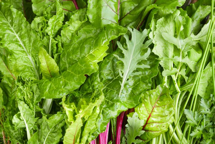 Full frame close up of mixed dark leafy greens including kale, chard and spinach