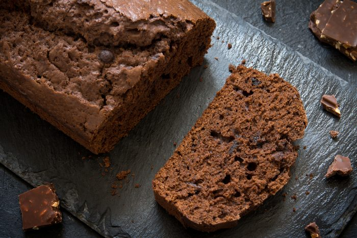 Chocolate Pound Cake with Chocolate Drops. Homemade chocolate pastry for breakfast or dessert.