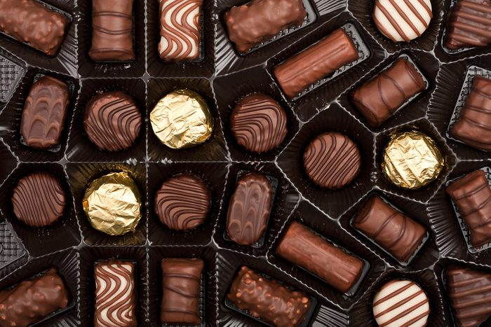Close up shot of chocolates box