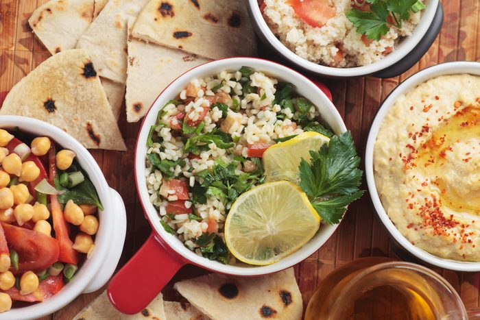 Tabbouleh, middle eastern salad with bulgur wheat pasta, tomato and parsley