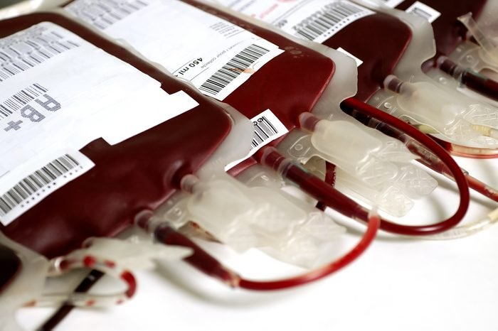 Human blood in storage