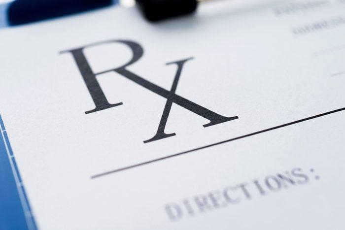 Close up of blank prescription.