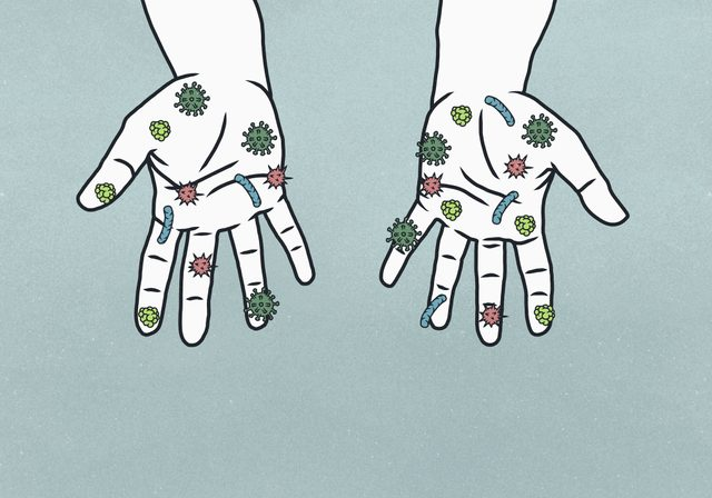 illustration of hands covered in germs