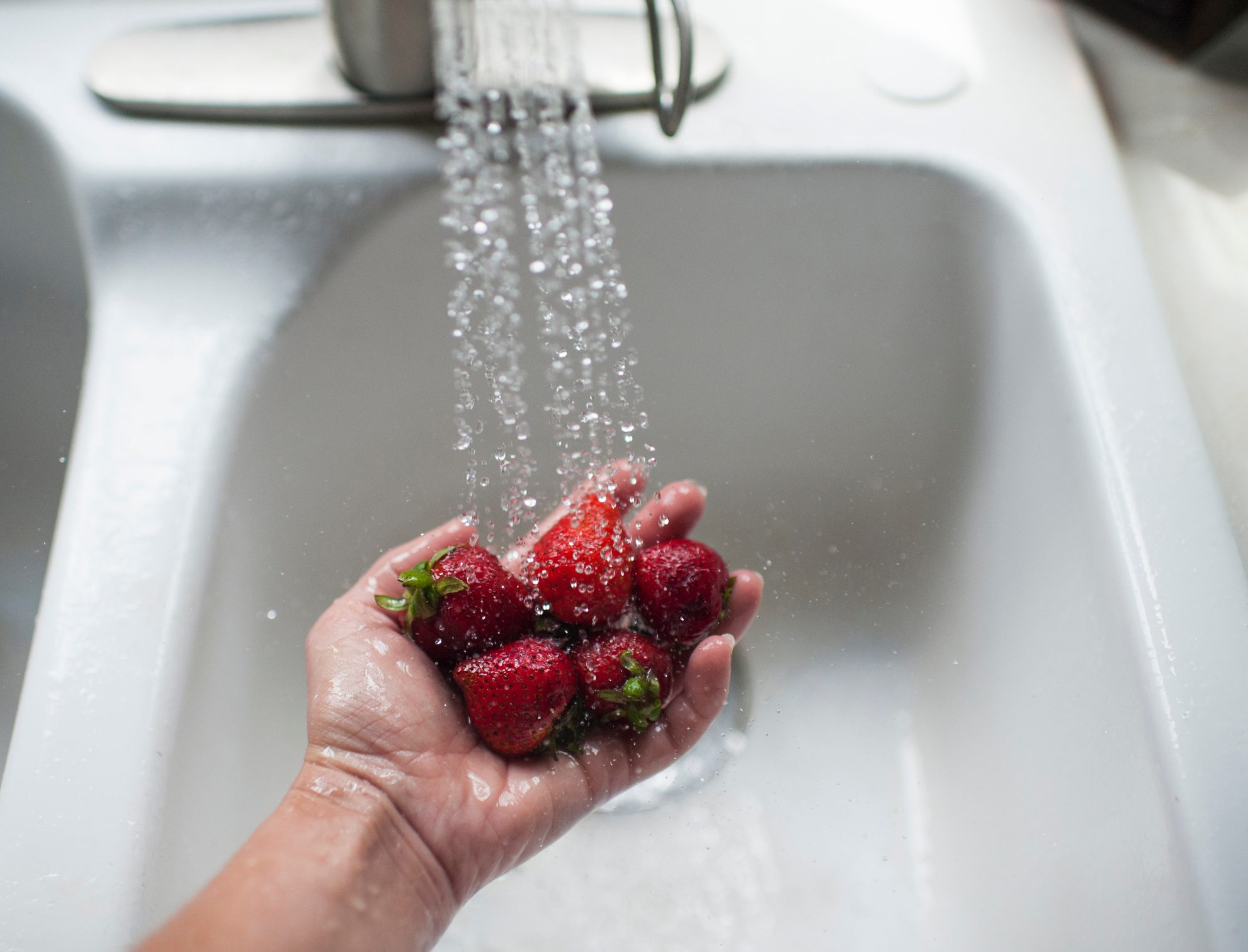 washing strawberries in sink