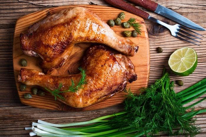overhead shot of two chicken legs