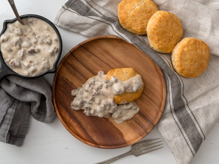 Traditional Southern dish of biscuits and sausage gravy. Hearty and filling food for breakfast or brunch.
