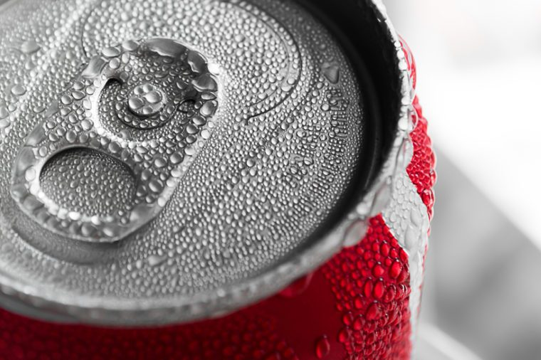 Water droplets on soda cans for background