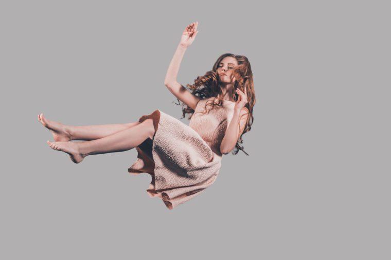woman falling fainting