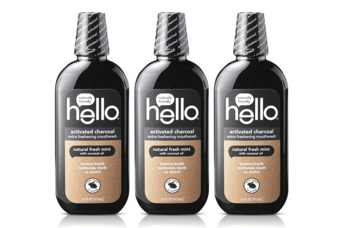 3 bottles of Hello Oral Care Activated Charcoal Teeth Whitening Fluoride Free Mouthwash