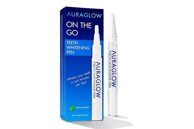AuraGlow Teeth Whitening Pen package and pen