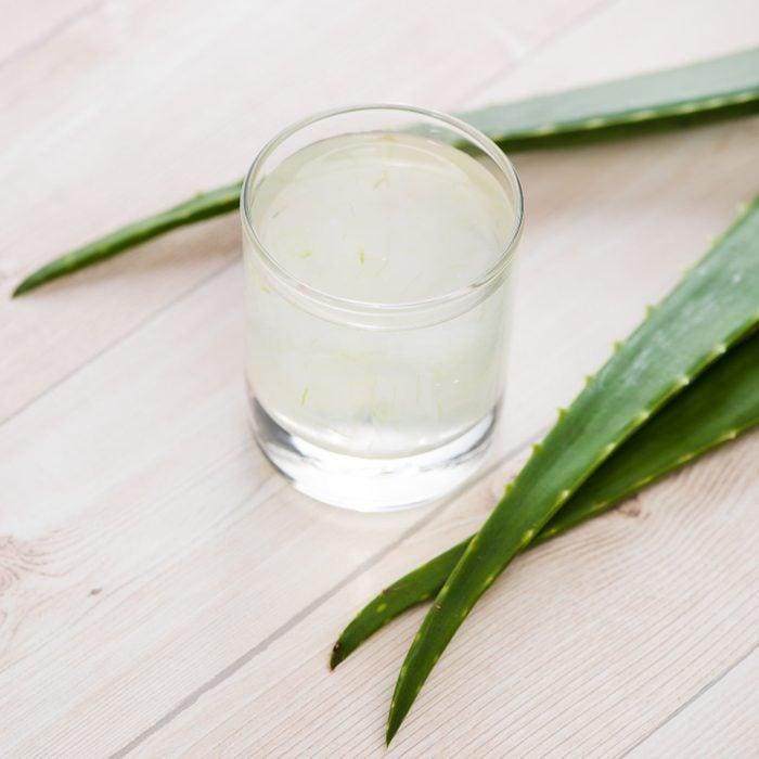 glass of aloe vera juice