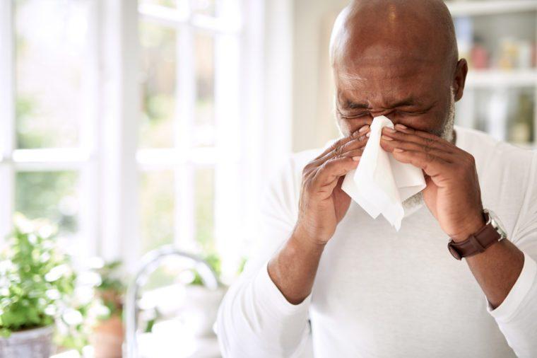 man with seasonal allergies