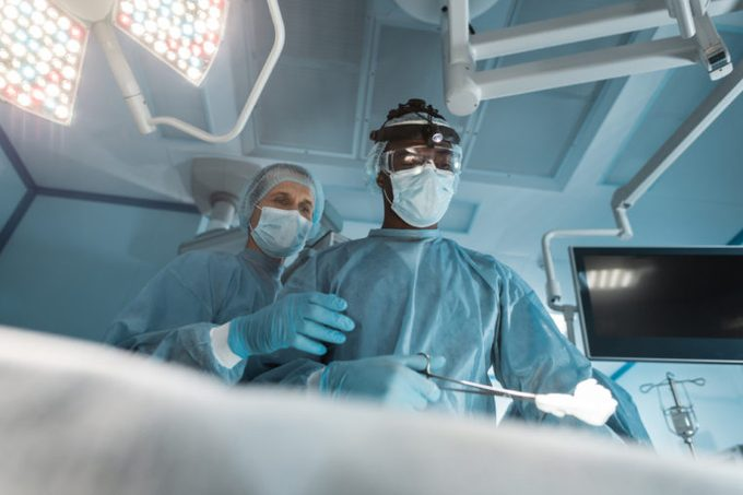 bottom view of multicultural surgeons at surgery