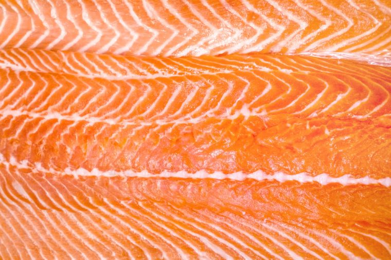 close-up of raw salmon fish fillet