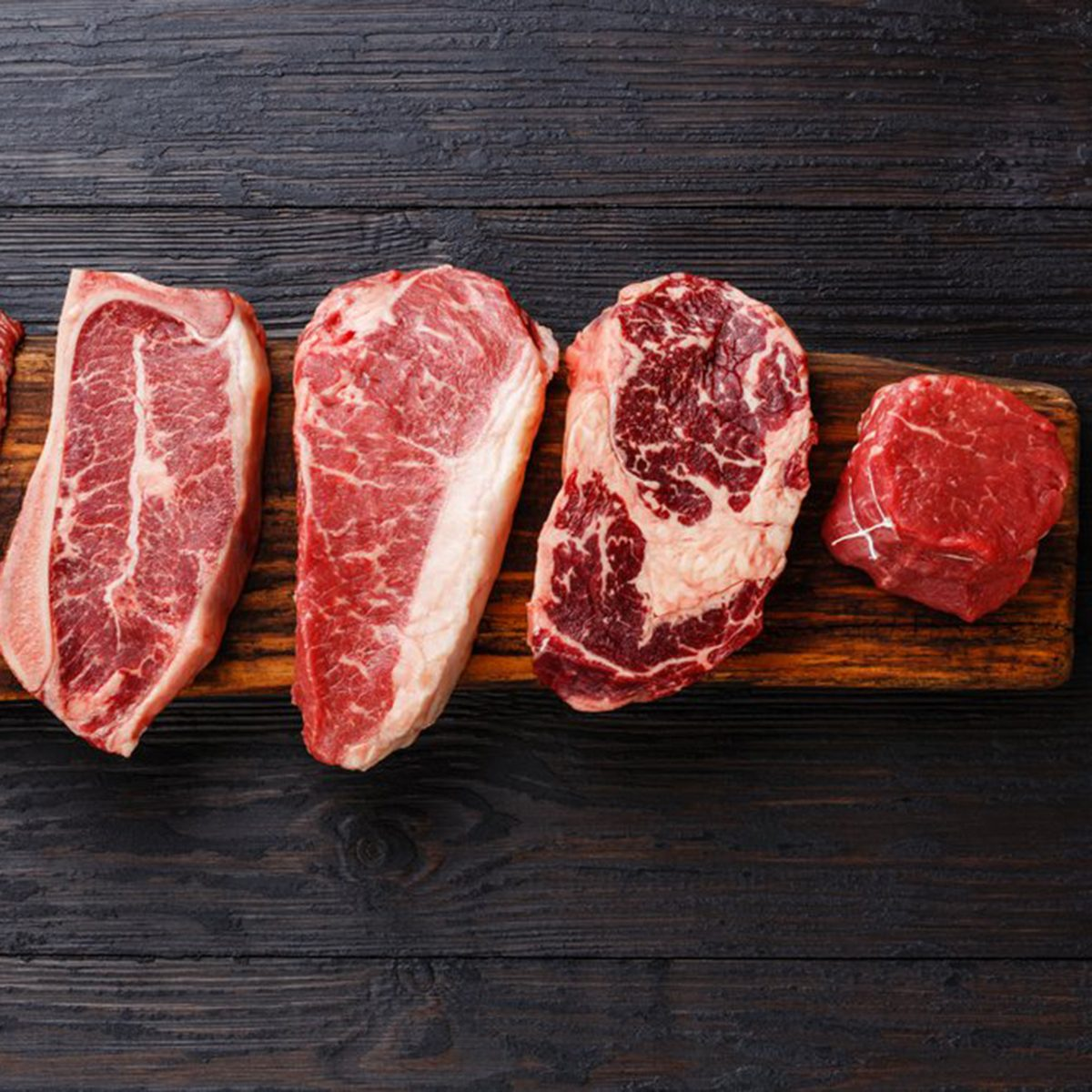 Raw red meat steaks