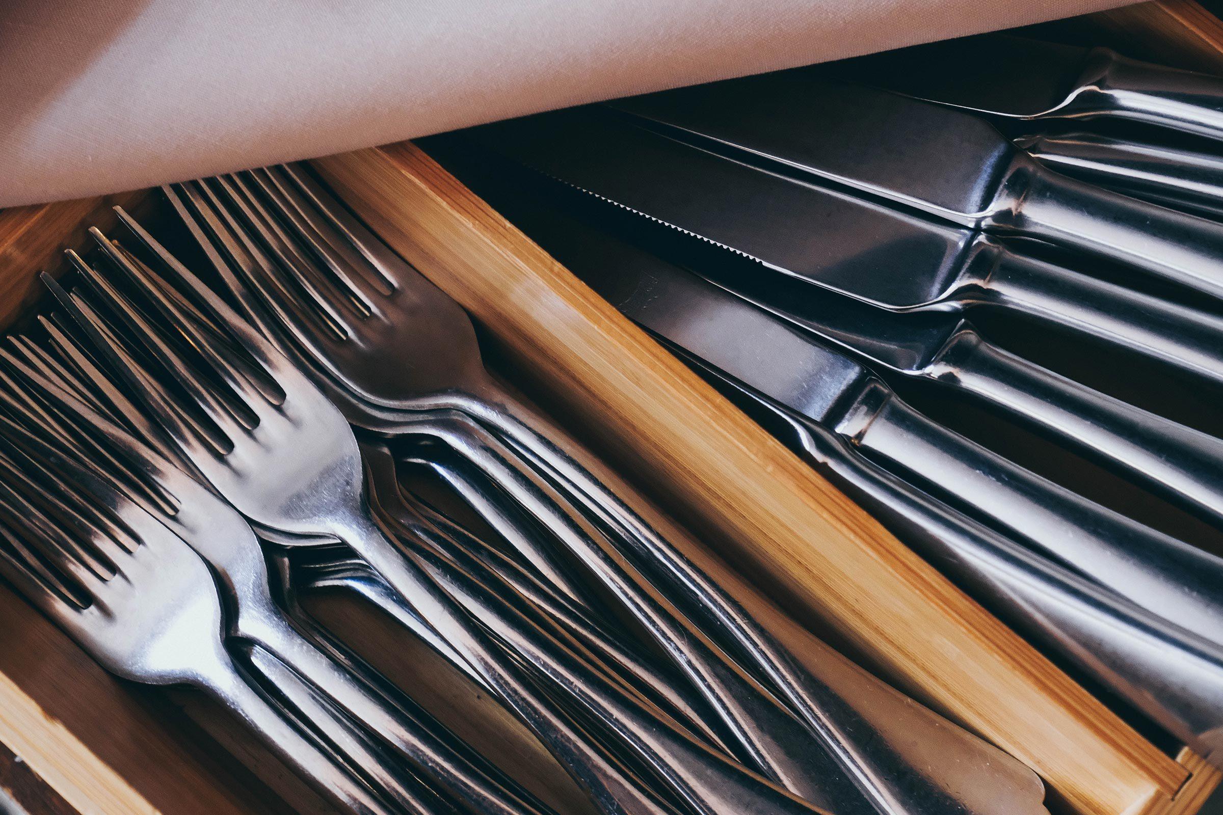 silverware utensils in a drawer