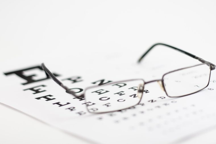 Pair of eyeglasses on an eye test exam.