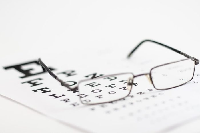 Pair of eyeglasses on an eye test exam.