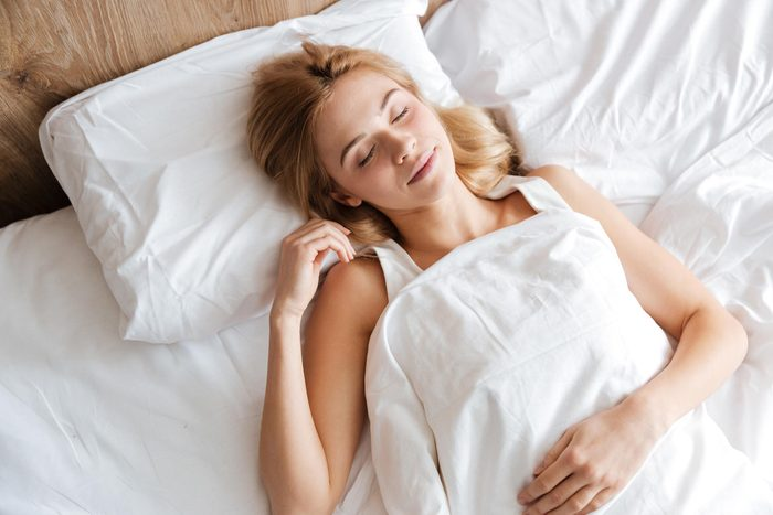 woman sleeping overhead