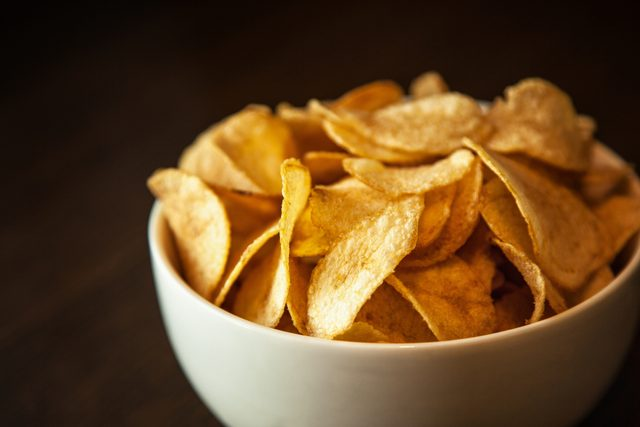bowl of potato chips snack