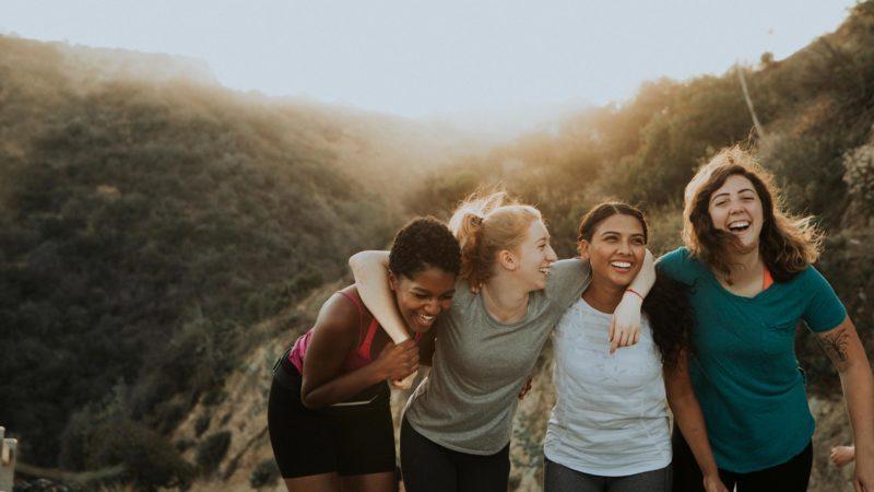 women friends hiking