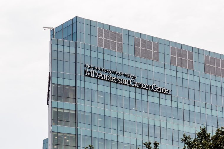 Houston, Texas, USA - September 22, 2018: Sign of The University of Texas MD Anderson Cancer Center on the building in Houston, one of the original three comprehensive cancer centers in the US