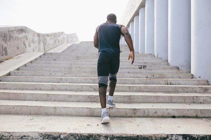 man jogging running stairs exercise workout